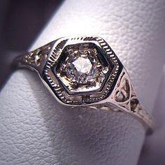 white gold art deco ring