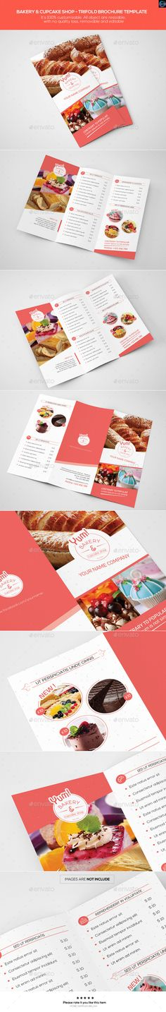 Bakery & Cupcake Shop - Trifold Brochure Template - Catalogs Brochures