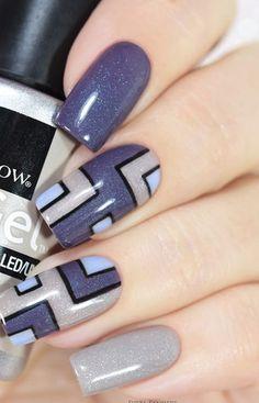 Elegant Nails, Stylish Nails, Beautiful Nail Designs, Beautiful Nail Art, Hair And Nails, My Nails, Purple Nail Art, Geometric Nail Art, Nail Time