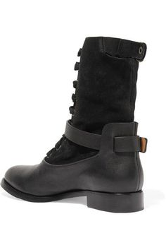 Chloé - Otto Shearling-lined Suede And Leather Boots - Black