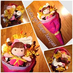 Made a baby girl diaper bouquet for an expecting friend. #diaperbouquet #babyshower #itsagirl