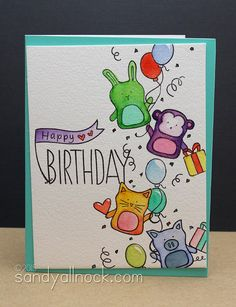 Stamped Birthday Cards – Baby Party Animals Awesome Happy Birthday card by Sandy Allnock using brand new Simon Says Stamp Exclusives from the Falling for you release. Birthday Card Drawing, Watercolor Birthday Cards, Free Birthday Card, Kids Birthday Cards, Diy Birthday, Happy Birthday Drawings, Birthday Images, Birthday Quotes, Birthday Greetings