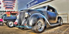 Custom painted 1930s American Black and blue Ford on display at car show in Melbourne, Australia