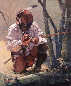 "John Buxton artwork -- Touch Hole Touchup 12"" x 10"" oil:"