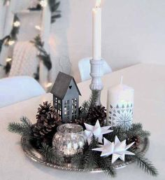 stars and white candles centerpiece ideas
