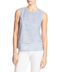 Light Blue Stripe Crochet-Trim Sleeveless Top