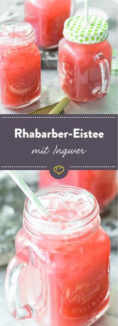 Statt Pfirsich oder Zitrone aromatisieren hier die süß-sauren… All rhubarb. Instead of peach or lemon, the sweet and sour sticks and fresh ginger flavor the cool iced tea made from rose hip and hibiscus. Best Smoothie, Smoothie Drinks, Smoothie Recipes, Smoothies, Smoothie Mixer, Refreshing Drinks, Fun Drinks, Yummy Drinks, Healthy Drinks