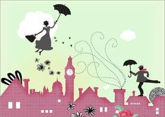 "Poster 80 x 60 cm - ""Mary Poppins London"" by Elisandra - also available in other sizes and as a canvas print:Amazon:Kitchen & Home"