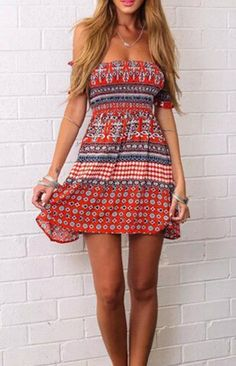 Beach Club Vintage Pattern Dress