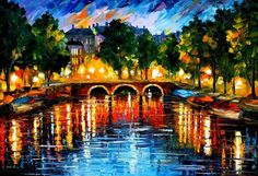 "Original Recreation Oil Painting on Canvas This is the best possible quality of recreation made by Leonid Afremov in person.  Title: Amsterdam, The Release Of Happiness Size: 36"" x 24"" Condition: Excellent Brand new Gallery Estimated Value: $ 6,500 Type: Original Recreation Oil Painting on..."
