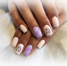 Unicorn nail art that will bring you back to the 90s.