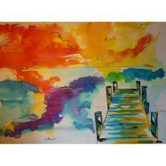 Encre de couleur de Chenel, Titre : Ponton,  Format : 32 x 25 cm