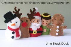 Pattern Christmas Friends Felt Finger Puppets by LittleBlackDuck, $5.00
