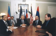 """SECRETARY OF STATE COLIN POWELL in the Dining Room of the """"Harry S. Truman Little White House"""", during peace talks;  2001."""