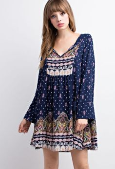 Ornate-PAISLEY-Print-Long-Bell-Sleeve-Peasant-Swing-Loose-Dress-Boho-Hippie-S-L