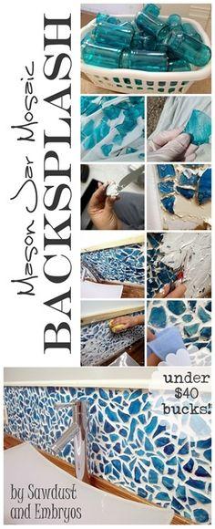 DIY Mason Jar Mosaic Backsplash Tutorial... everything for under $40 bucks! {Sawdust & Embryos}