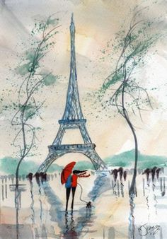 Original Signed Watercolour Painting ~ A Wet & Windy Paris ~ By KJ CARR