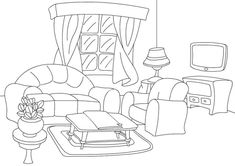 Clean Living Room Coloring Sheet Free coloring pages Free printable coloring pages Coloring pages