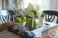 EARLY FALL FARMHOUSE KITCHEN - That's what I do in Sept. - decorate with green apples!