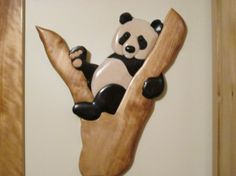 Wooden panda wall hanging by Woodworkingal on Etsy, $110.00
