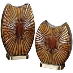 Zarina 2-piece Starburst Vase Set ($262) ❤ liked on Polyvore featuring home, home decor, vases and uttermost home decor