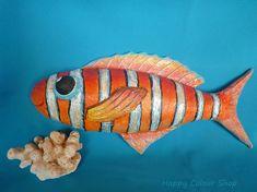 Pared de papel maché sonriente decoración naranja/plata pescado artesanal y…