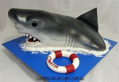 Shark Cake - Cake by Custom Cake Designs - CakesDecor Ocean Cakes, Beach Cakes, Shark Birthday Cakes, 8th Birthday, Happy Birthday, Realistic Cakes, Little Mermaid Cakes, Shark Cake, Chocolate Mud Cake