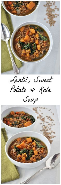 My daughter and I really enjoyed this easy 10 minute prep and very healthy soup.  The boys didn't like i was much, but it's a recipe worth holding on to.  Lentil Sweet Potato Kale Soup P