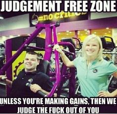 In trying to be a fitness facility that is judgement free, they have become the most intolerant and judgmental. Funny how that works. the liberal gym. Fitness Jokes, Planet Fitness Workout, Fitness Tips, Funny Fitness, Workout Memes, Gym Memes, Gym Workouts, Gym Fail, Bodybuilding Memes