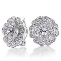 Amazon.com: Bling Jewelry Bridal CZ Pave Flower Rose Clip On Earrings: Jewelry