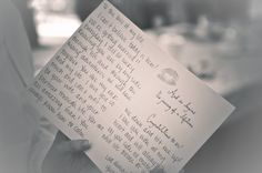 The Best man and Maid of Honor swap love letters from both the Bride and the Groom to read privately before walking down the aisle