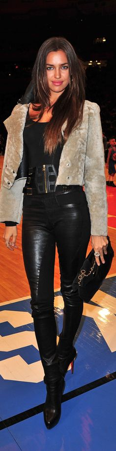 Short jacket is a great way to show off killer leather pants! - Irina Shayk.  outfit inspiration -112 lbs post pregnancy
