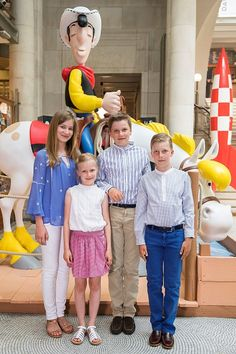 (From L) Crown Princess Elisabeth, Princess Eleonore, Prince Gabriel and Prince Emmanuel pose during a photo-shoot of the Belgian Royal Family's vacation Belgian Comic Strip Center, in Brussels, on July 19, 2016.