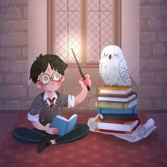 Harry Potter and Hedwig. Fanart Harry Potter, Harry James Potter, Harry Potter World, Harry Potter Artwork, Cute Harry Potter, Harry Potter Drawings, Harry Potter Wallpaper, Harry Potter Facts, Harry Potter Characters