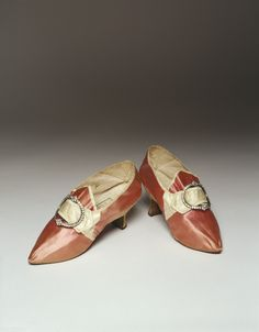 Pair of shoes, 1775, England, Chamberlain & Sons (Maker), Satin, Silk (textile), Paste Buckles. Original owner Prudence Jenkins, wore these at her wedding in 1778. | Historic New England