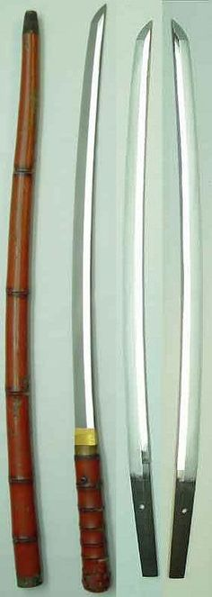Shikomi-zue (sword cane), 14th c,  tachi shortened to wakizashi size. Tokubetsu Hozon attributed to the Nio School, cutting length is 21.25 inches.