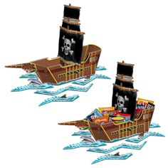 "Pirate Ship Centerpiece Includes: (1) themed 18"" x 26"" cardboard centerpiece. Adult assembly required. Weight (lbs) 0.39 Length (inches) 24.5 Width (inches) 14.5 Height(inches) 0.5"