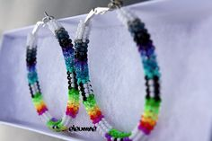 White Rainbow Native American Beaded Hoop Earrings by eleumne