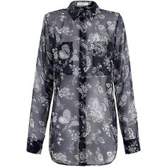Equipment Navy Floral Printed Signature Silk Blouse (475 BRL) ❤ liked on Polyvore featuring tops, blouses, navy, floral long sleeve shirt, navy blue blouse, blue shirt, silk shirt and long sleeve silk blouse