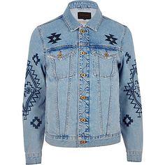 Blue aztec print denim jacket €80.00