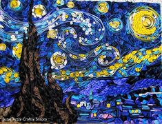 "Illusion: ""Quilled Starry Night"" is an arts and craft project by Susan Myers. Photos © Susan Myers Link via Craftgawker. http://illusion.scene360.com/art/19871/the-paper-version-of-starry-night/"