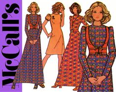 1970s Maxi Dress Pattern Uncut Bust 34 McCalls 3401 Boho A Line Wedding Prom Dress and Lace Up Bustier Vest Womens Vintage Sewing Patterns