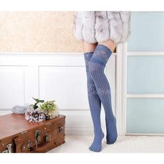 Womens Lace Knitting High Socks Over Knee Thigh Pantyhose Warm