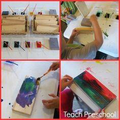 Sanding and Painting Scrap Wood by Teach Preschool