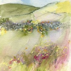 Sue Fenlon - a series of her paintings here. Good inspiration for landscapes in fabric with embroidery or a multi media project.