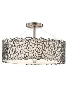 Shop for Kichler Lighting Silver Coral Collection Classic Pewter Pendant/Semi Flush Mount. Get free delivery On EVERYTHING* Overstock - Your Online Ceiling Lighting Store! 3 Light Pendant, Drum Pendant, Ceiling Pendant, Pendant Lighting, Mini Pendant, Semi Flush Lighting, Semi Flush Ceiling Lights, Cool Lighting, Ceiling Lighting