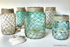 DIY Fish Net Jars: http://www.completely-coastal.com/2015/04/diy-fish-net-jars.html