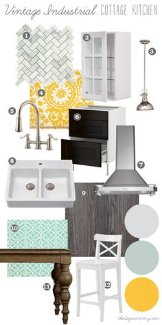 Mood Board: Vintage Industrial Cottage Kitchen - Love it all except swap yellow for orange! Our DIY House by The DIY Mommy http://thediymommy.com/mood-board-vintage-industrial-cottage-kitchen-our-diy-house/