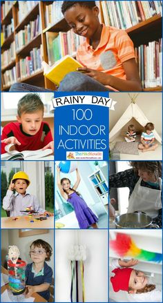 100 Indoor activities for rainy days or too hot days for kids. A selection of fun indoor screen free activities for children and families for rainy days