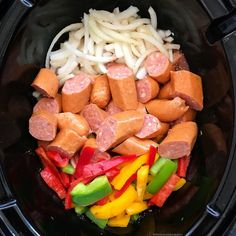 Instant Pot/Slow Cooker Sausage, Bell Peppers & Onion Grab your favorite sausage with bell peppers & onions in this flavorful paleo, and low-carb recipe. Make this in your Instant Pot or slow cooker! Slow Cooked Meals, Crock Pot Slow Cooker, Crock Pot Cooking, Cooking Recipes, Healthy Recipes, Low Carb Slow Cooker, Cooking Games, Cooking Classes, Low Carb Crockpot Recipes